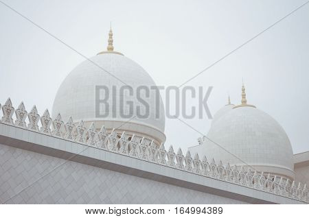 Detail shot of the Sheikh Zayed Grand Mosque in Abu Dhabi