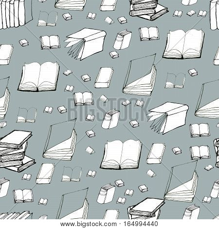 Seamless vector doodle pattern with books. Hand drawn background. Reading and education.