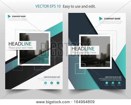 Blue square annual report brochure flyer design template vector Leaflet cover presentation abstract flat background layout in A4 size