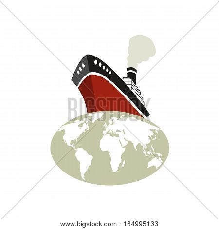 Nautical symbol concept. Ocean liner icon. Freehand drawn cartoon retro style. Around the world cruise ship tour emblem. Vector sea vessel journey advertisement label background. Marine logo template