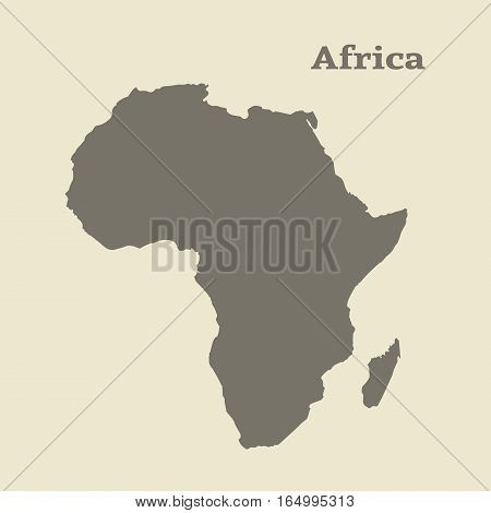 Outline map of Africa. Isolated vector illustration.