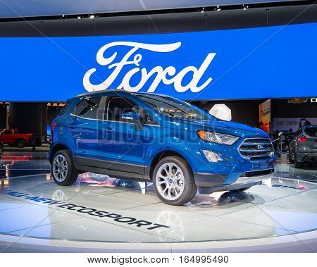 DETROIT MI/USA - JANUARY 10 2017: A 2018 Ford EcoSport SUV at the North American International Auto Show (NAIAS).