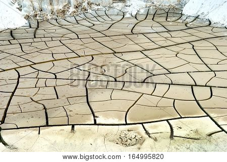 Abstract natural background with cracked earth texture