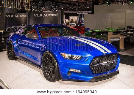DETROIT MI/USA - JANUARY 10 2017: A VLF Rocket Concept car at the North American International Auto Show (NAIAS).