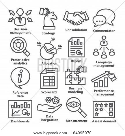Business management icons in line style on white. Pack 18.