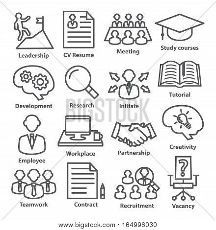 Business management icons in line style on white. Pack 20.