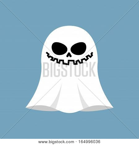 Ghost Isolated. White Spook On Blue Background. Halloween Object