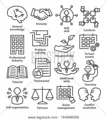 Business management icons in line style on white. Pack 22.
