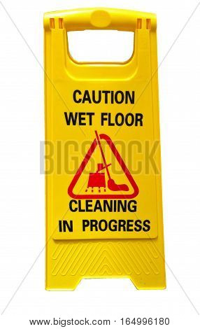 caution wet floor sign cleaning in progress sign isolate on white background