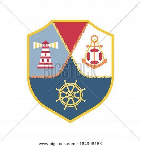 Travel nautical icon. Maritime heraldic emblem. Vector freehand drawn sail symbol. Stylized steering wheelanchor sea light. Marine advertisement label logo background