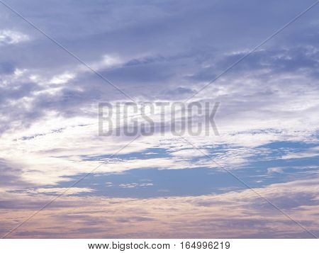 Beutiful sky during sunset. Blue and orange cloud color at twilight.