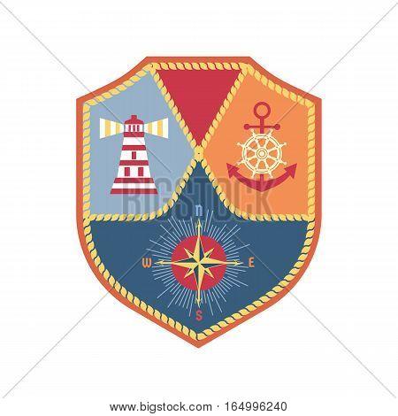 Travel nautical icon. Maritime heraldic emblem. Vector freehand drawn sail symbol. Stylized wind rose sea compass. Marine advertisement label logo background