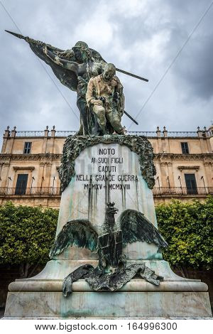 Noto Italy - December 15 2016: Monument