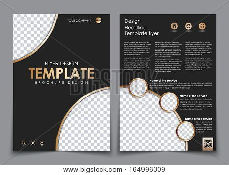Cover Design And The Back Of The Black Color With Gold Elements.