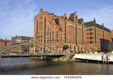 HAMBURG GERMANY - NOVEMBER 13: The International Maritime Museum is a Museum in Hamburg's Speicherstadt. For this purpose Kaispeicher B was redesigned and modernized in Hamburg Germany on November 13 2016