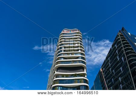 Melbourne Australia - December 7 2016: Medibank building in the Docklands. Medibank Private Limited is a national private health insurer and Australia's largest health insurance provider