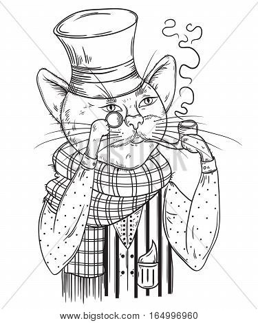 Cat gentleman in bowler hat, scarf with pipe and monocle. Anthropomorphic character. Vintage hand drawn vector illustration