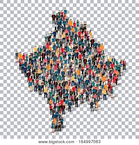 Isometric set of styles, people, map of Kosovo , country, web infographics concept of crowded space, flat 3d. Crowd point group forming a predetermined shape. Creative people. Vector illustration. Photo vector.3D illustration. Transparent background .