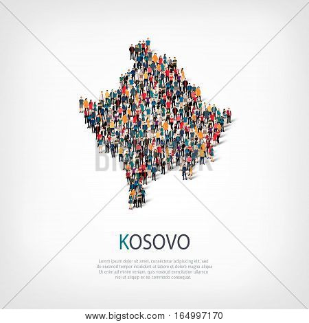 Isometric set of styles, people, map of Kosovo , country, web infographics concept of crowded space, flat 3d. Crowd point group forming a predetermined shape. Creative people. Vector illustration. Photo vector.3D illustration. White background . Isolated. poster