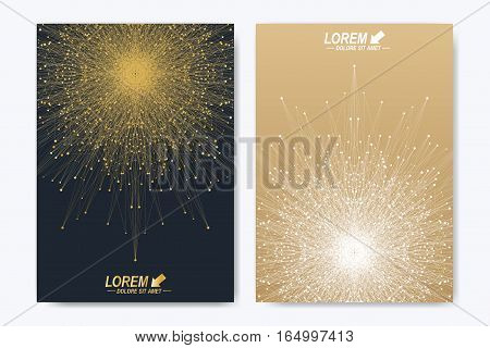 Modern vector template for brochure leaflet flyer cover catalog magazine or annual report. Golden layout in A4 size. Business, science and technology design book layout. Presentation with mandala poster