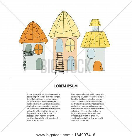 Collection artoon of cute houses in a childlike style. Vector illustration with place for your text.