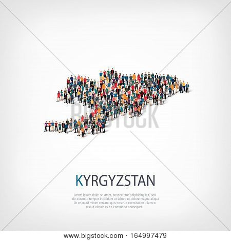 Isometric set of styles, people, map of Kyrgyzstan , country, web infographics concept of crowded space, flat 3d. Crowd point group forming a predetermined shape. Creative people. Vector illustration. Photo vector.3D illustration. White background .