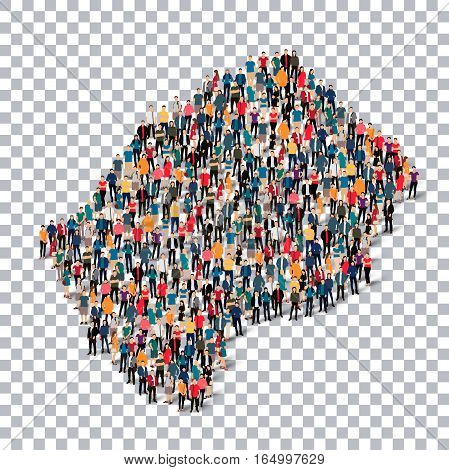 Isometric set of styles, people, map of Lesotho , country, web infographics concept of crowded space, flat 3d. Crowd point group forming a predetermined shape. Creative people. Vector illustration. Photo vector.3D illustration. Transparent background .