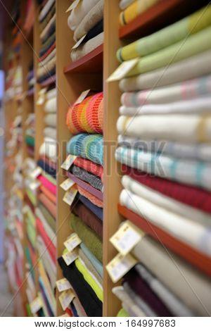 VILNIUS, LITHUANIA: Layers of linen inside a linen shop