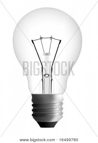 Photorealistic Light Bulb in Vector isolated on White Background