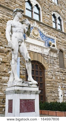 The statue of David by Michelangelo standing outdoors in the Piazza della Signoria in Florence.