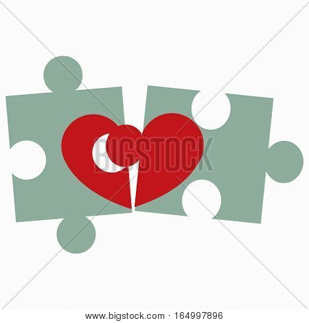 icon puzzle heart on white background. pattern for decoration or congratulations for a wedding or Valentine's day.vector illustration.
