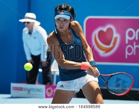 Melbourne Australia - January 12 2017: Chinese Tennis player Wang Qiang preparing for the Australian Open at the Kooyong Classic Exhibition tournament