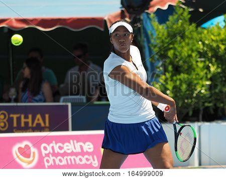 Melbourne Australia - January 10 2017: Raising Australian Tennis teenager Destanee Aiava preparing for the Australian Open at the Kooyong Classic Exhibition tournament