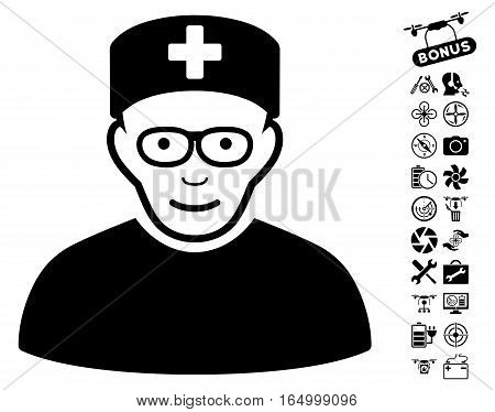 Medical Specialist icon with bonus quad copter service pictures. Vector illustration style is flat iconic black symbols on white background.