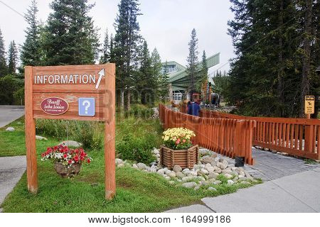 Lake Louise, Canada - September 4, 2016: The Village Center With
