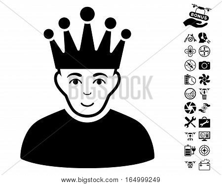 Moderator pictograph with bonus copter tools graphic icons. Vector illustration style is flat iconic black symbols on white background.