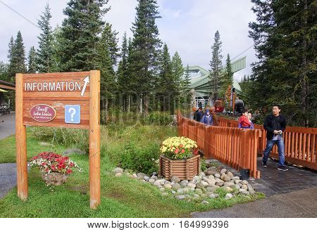 Lake Louise, Canada - September 6, 2016: The Village Center With