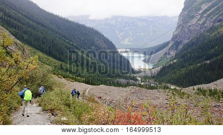 Lake Louise, Canada - September 6, 2016: The Trail To The Plain
