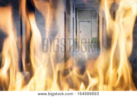 Close-up Of Fire Burning On The Corridor Of The Building