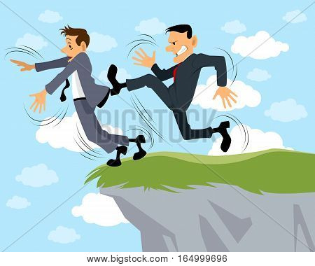 Vector illustration of a businessman kicks another