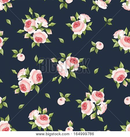 Vector seamless pattern with pink roses on a dark blue background.