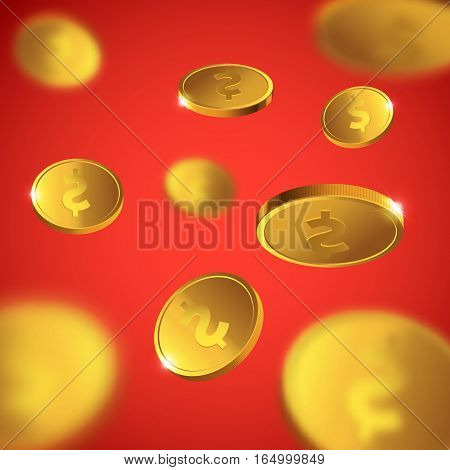 Vector Illustration of flying golden coins. Money illustration isolated on red background.