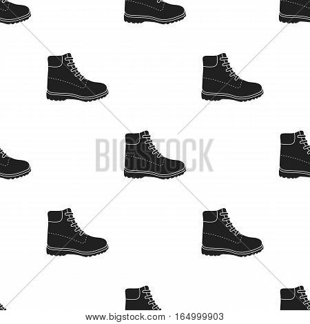 Hiking boots icon in  black style isolated on white background. Shoes pattern vector illustration.