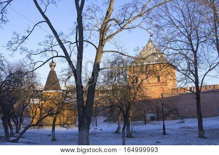 Veliky Novgorod Russia. Winter landscape Novgorod Kremlin. January 2017