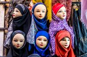 Hijabs for sale at Vakil Bazaar in Shiraz city in Iran poster