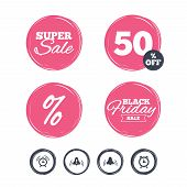 Super sale and black friday stickers. Alarm clock icons. Wake up bell signs symbols. Exclamation mark. Shopping labels. Vector poster