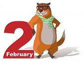 February 2 Groundhog Day. Marmot casts shadow. Vector cartoon illustration poster