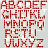 Font made of the red mosaic tiles. poster