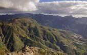 Gran Canaria in December - view across Caldera de Tejeda towards Pico de Las Nieves and Roque Nublo poster