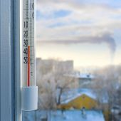 Cold winter weather. Outdoor thermometer on a window shows a minus thirty degrees Celsius. Low temperatures under zero poster